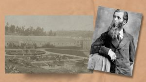Thin man in suit with long beard shown beside grainy photo of a garden on prison grounds.