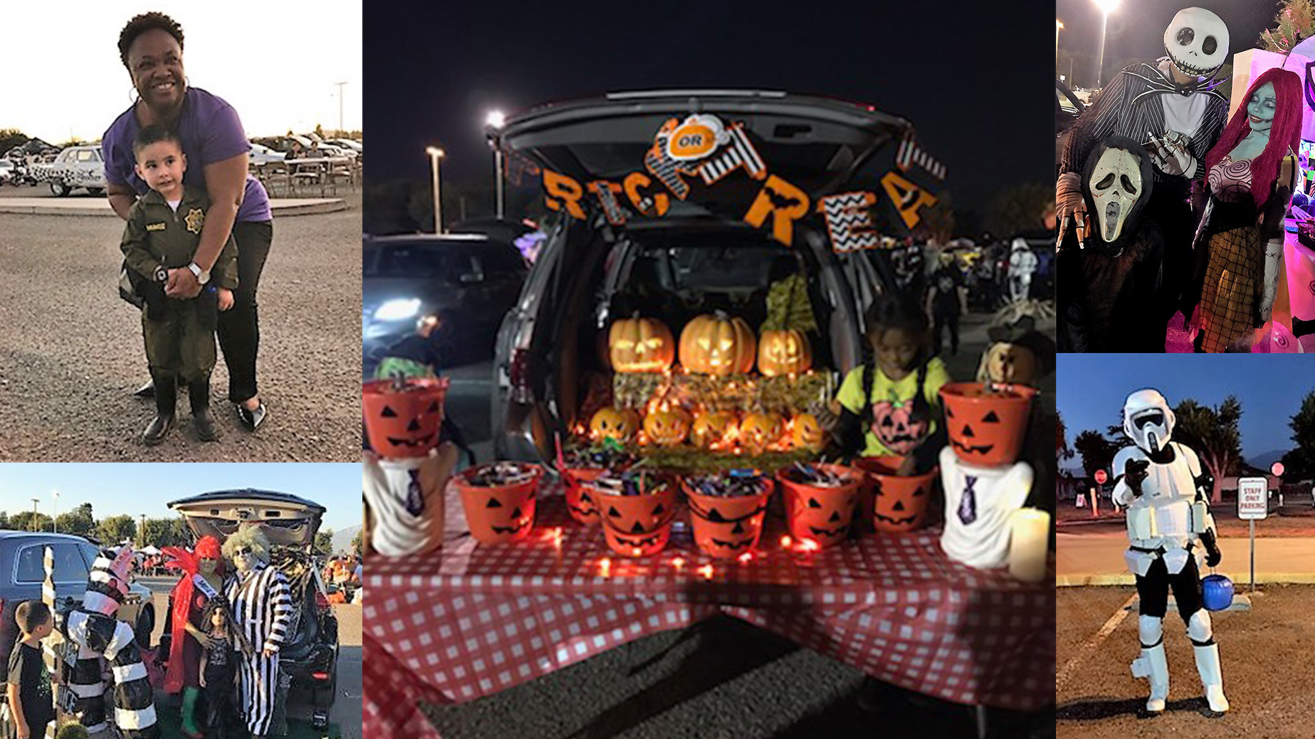 Halloween costumes, decorations and an open car trunk full of treats.