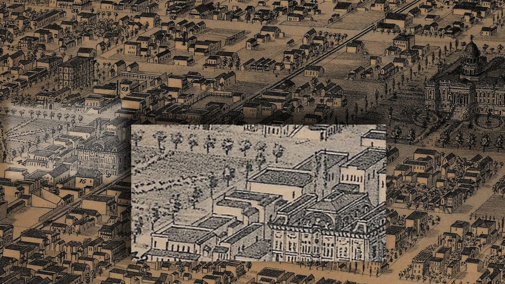 Drawing of Sacramento shows buildings and an enlarged area where a murder happened in 1860.