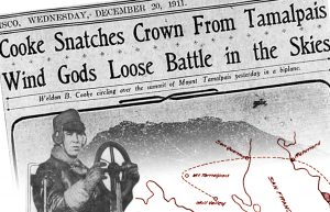 Headline says Cooke Snatches Crown from Tamalpais. There is a man sitting behind a steering wheel and an outline of a flight map.