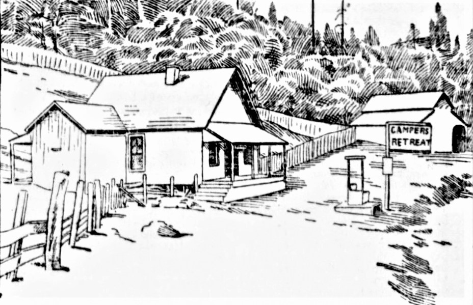 Drawing of a cabin, fence and barn, along with a business sign reading Campers' Retreat.