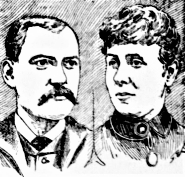 Drawing of a man and woman in late 1800s attire.