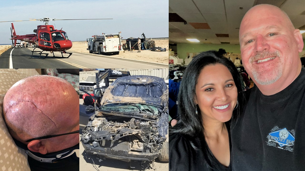Photos of a scarred head, a woman and man smiling, a crushed car and a helicopter at an accident scene.
