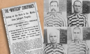 A newspaper article has the headline of Whitecap Conspiracy. There are four mugshots of men in striped prison outfits.