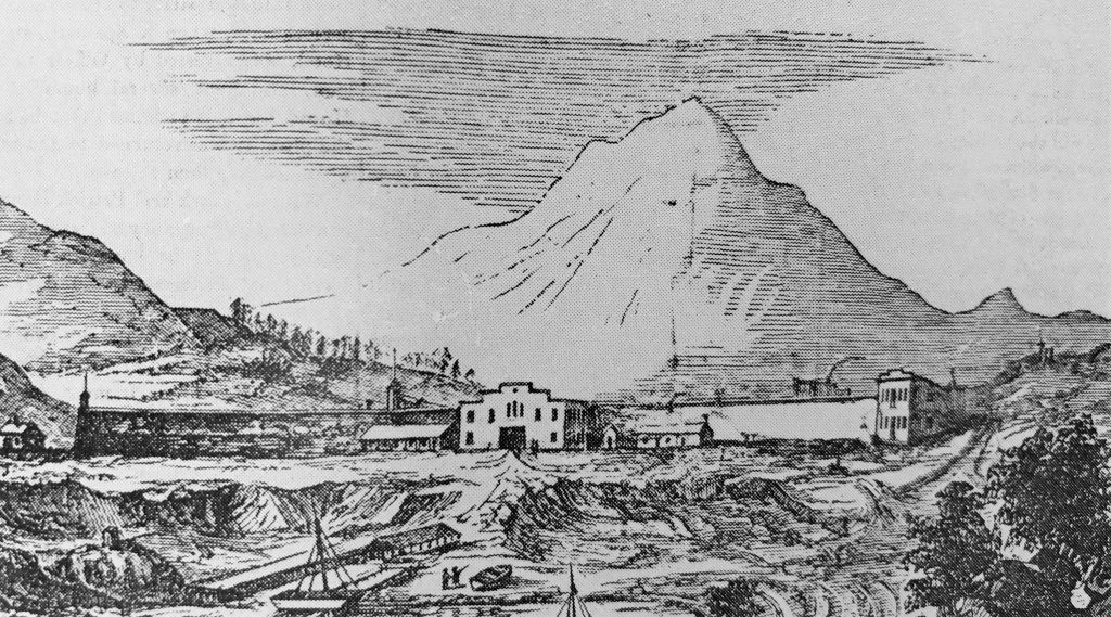 Drawing of a building, long prison walls, a dock and mountain in the background.