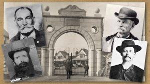 Four mugshots and a Folsom Prison gate.