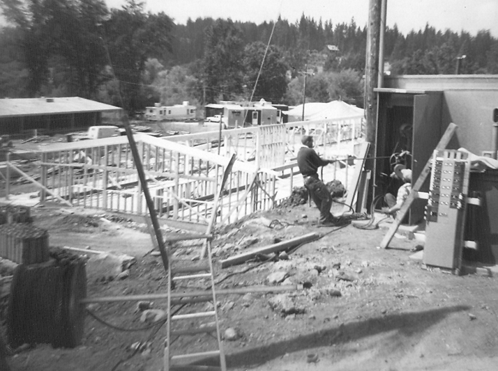 Construction at a fire camp circa late 1960s.