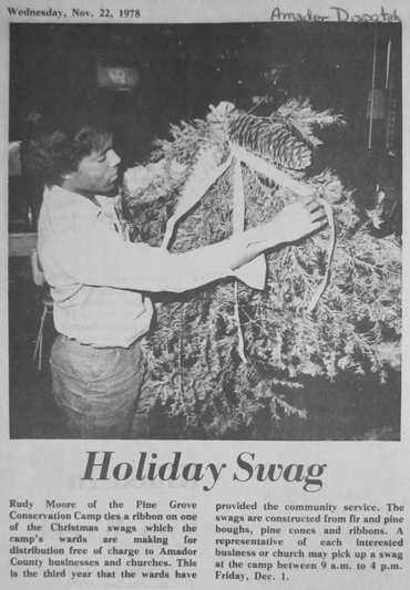 """Nov. 22, 1978, newspaper clipping with the headline """"Holiday Swag."""""""