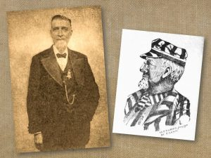 Sepia-toned photo of a man in a suit. An illustration of him in prison garb accompanies the photo.