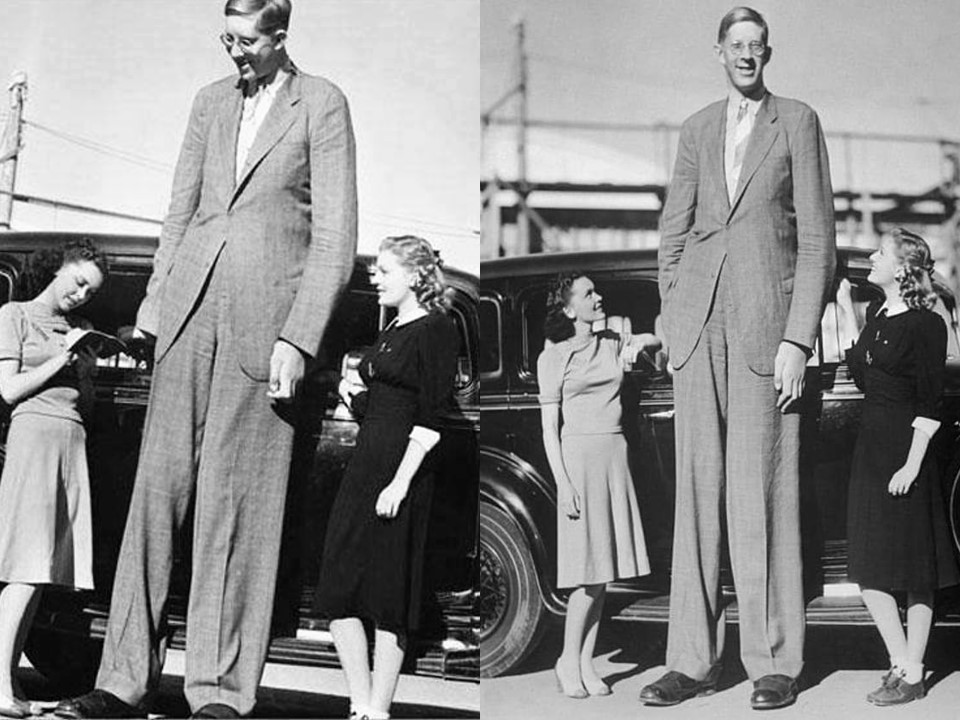 World's tallest man Robert Wadlow towers over two actresses and a 1930s vehicle in two side-by-side photographs taken moments apart.