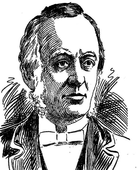 Newspaper illustration of a man with bushy sideburns and a bow tie.