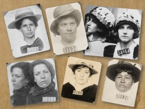 Mugshots of women layered over a canvas background texture.