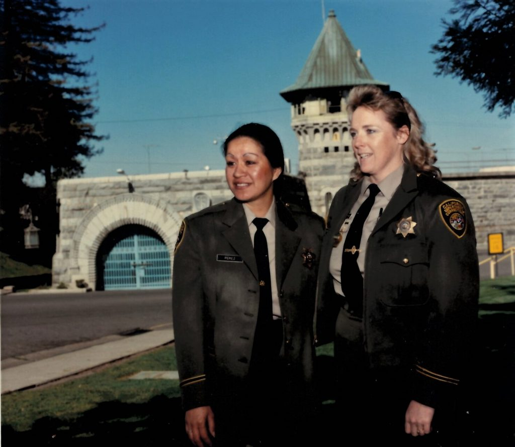 Women officers in front of Folsom State Prison.