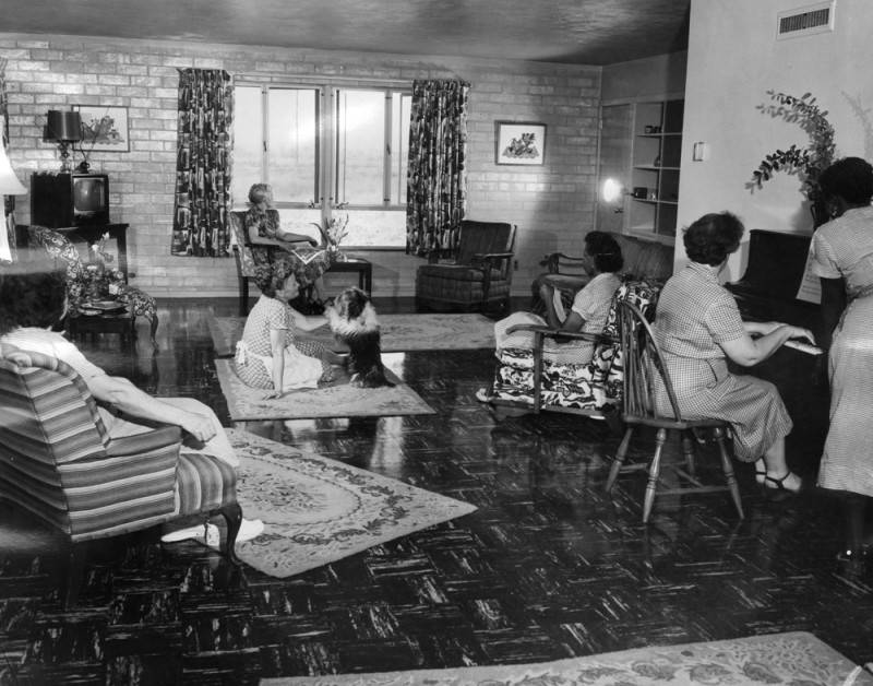 Women inmates in a living room setting at California Institution for Women in Corona.