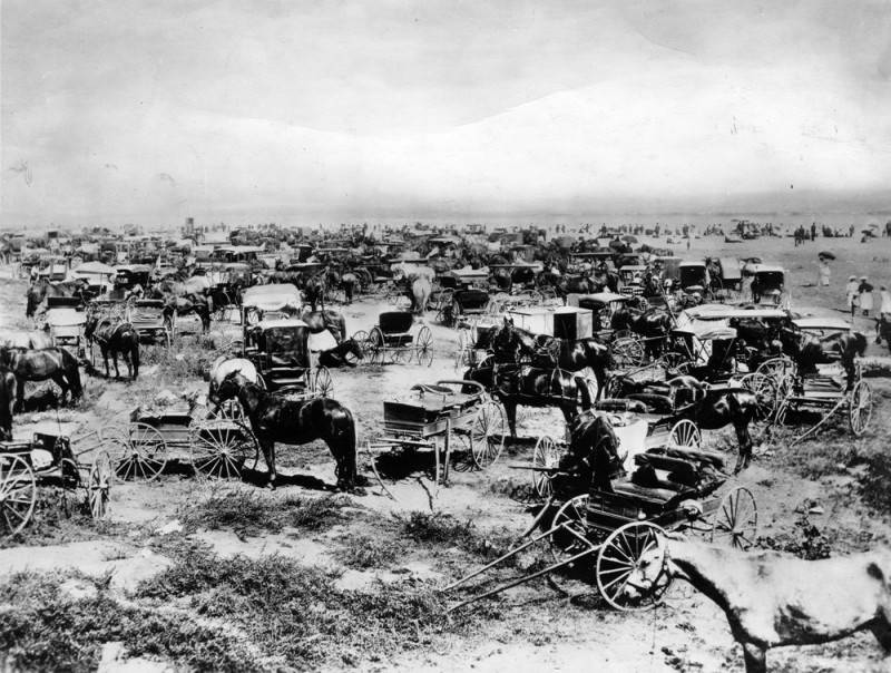 Horses and carriages in a parking lot at the beach.