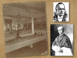 Photo of old prison library and chapel with two photos of early prison chaplains.