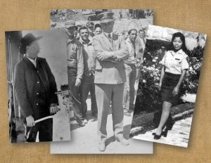Three examples of uniforms from the 1890s, 1930s and 1970s with a female officer.