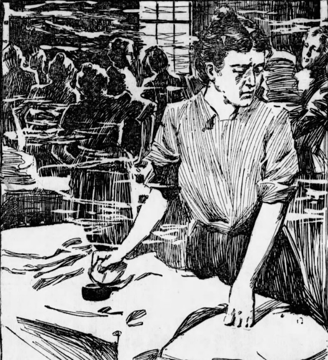 Woman irons clothing in a newspaper sketch.