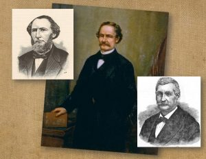 Two drawings and a painting of three California politicians.