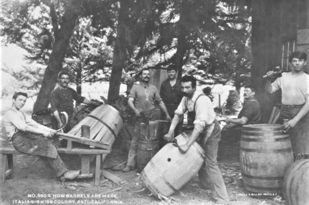 Men making barrels in Asti, California.