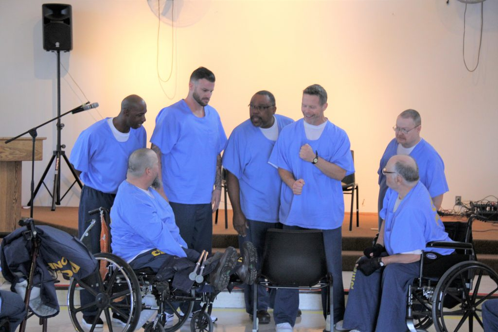 CHCF inmates put on a skit about peace and reconciliation.