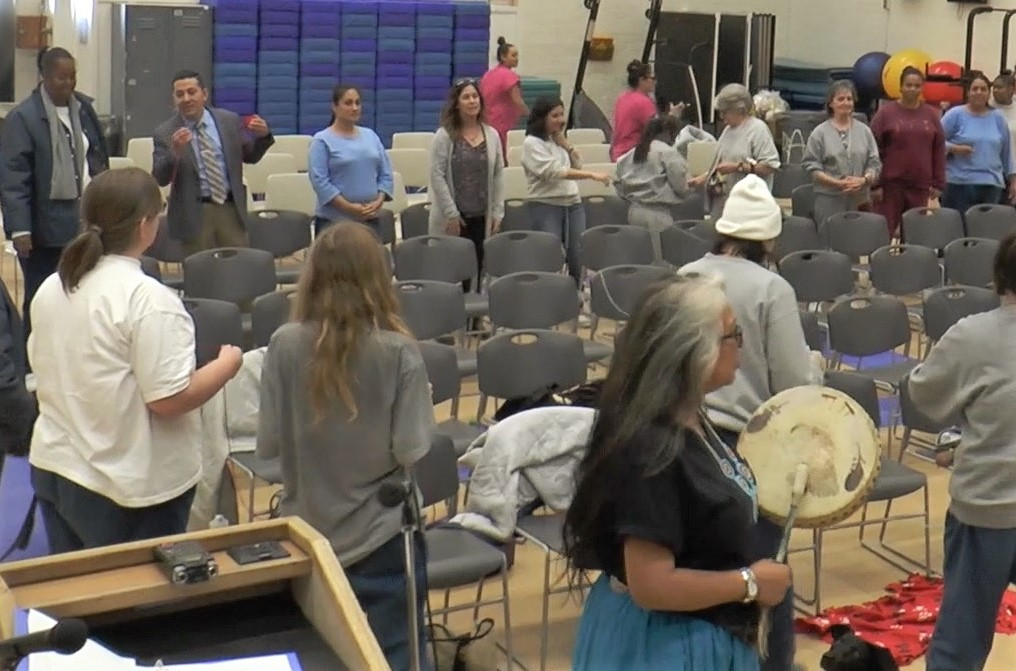 Native American drummers at Day of Peace and Reconciliation at California Institution for Women.