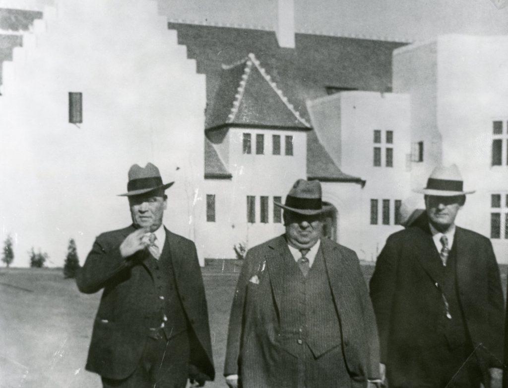 Three men attend dedication for women's prison at Tehachapi.