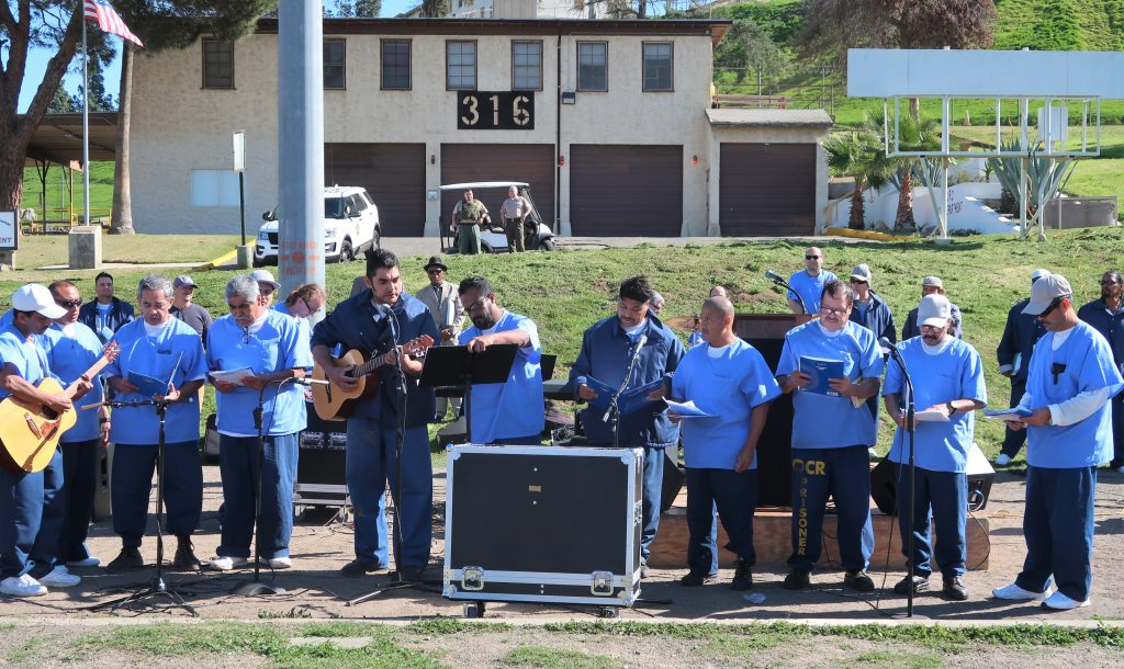 Inmate band at California Rehabilitation Center performs for Day of Peace and Reconciliation.