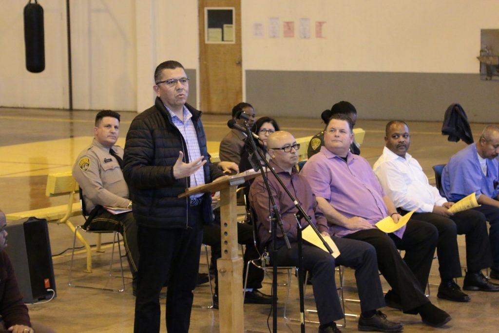CDCR Secretary Ralph Diaz speaks to inmates at DVI.