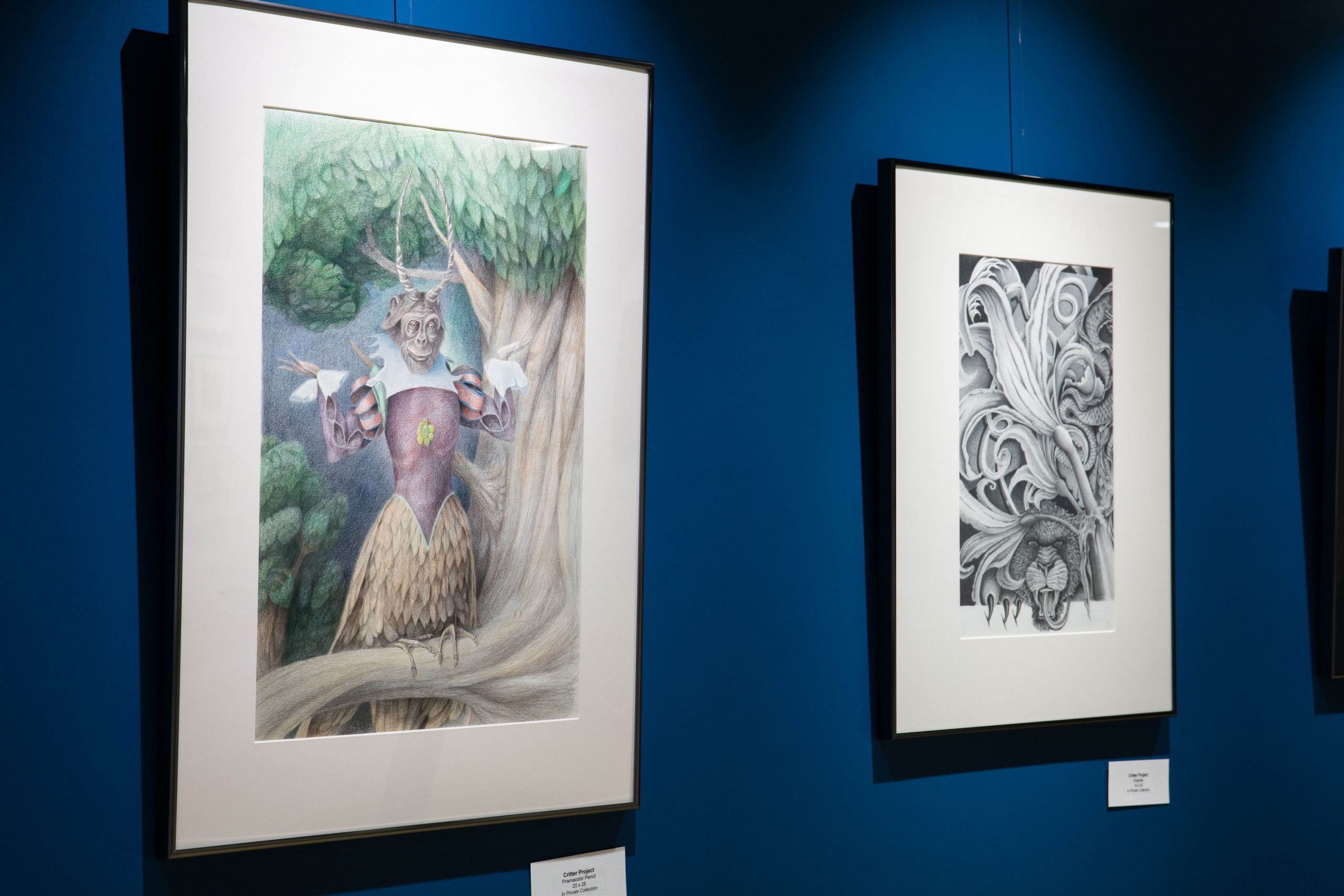 Artwork produced by inmates is displayed at a museum.