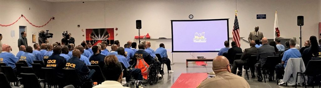 Warden Marcus Pollard speaks to inmates at RJD Correctional Facility in San Diego.
