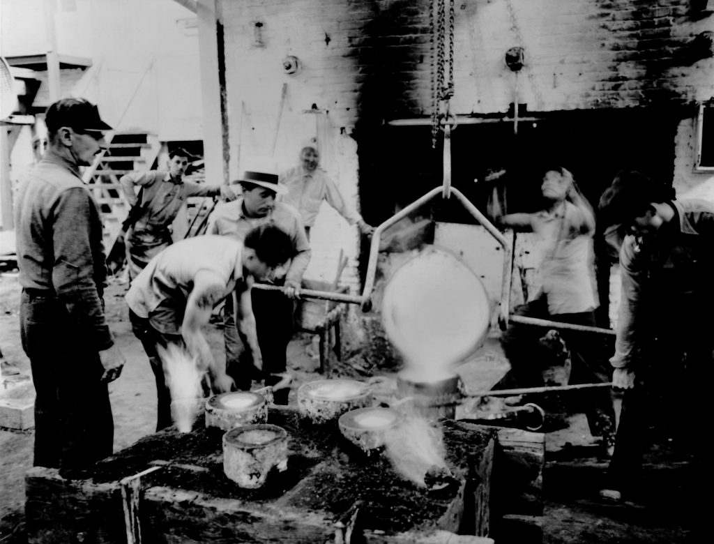 San Quentin inmates work in a foundry.