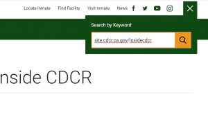 A screenshot of how to search for specific items on Inside CDCR.