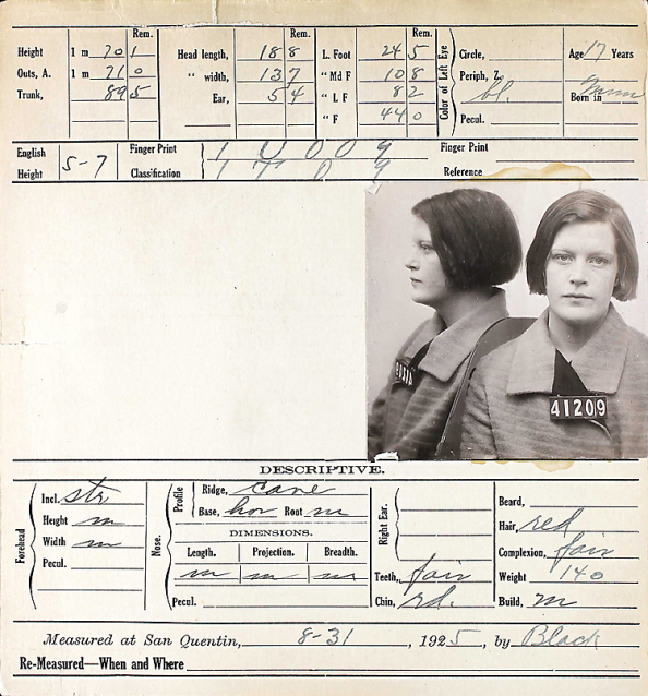 The Dorothy Ellingson inmate intake form for San Quentin.