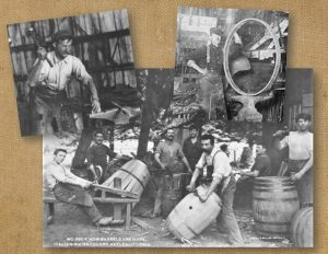 Photos of blacksmith and wheelwright are show with a photo of barrel makers.