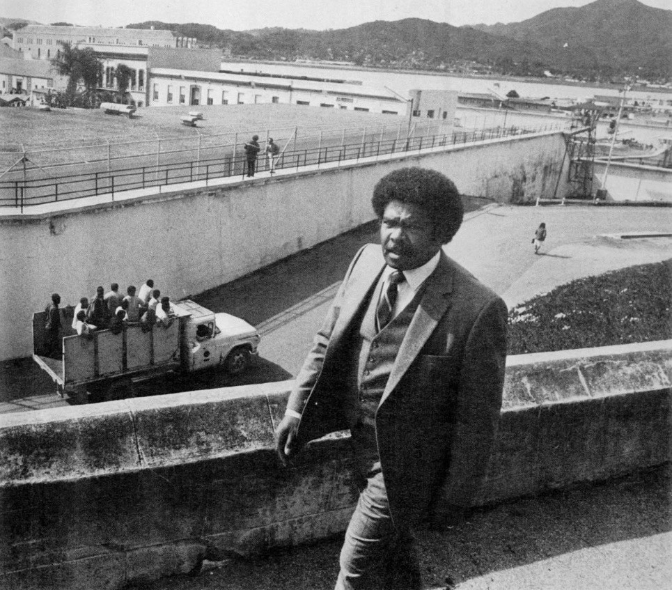 Black prison warden Reginald Pulley walks in San Quentin State Prison.