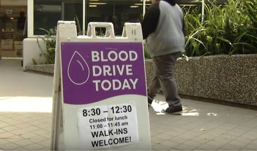 blood drive sidewalk purple signage