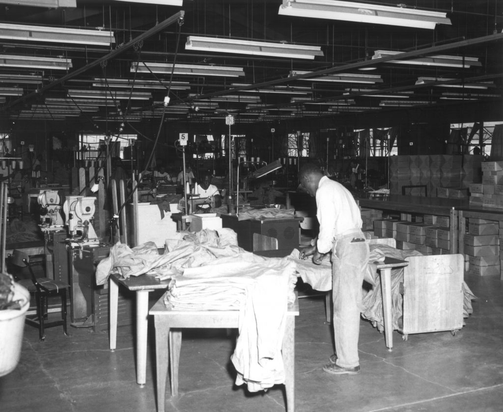 Men work in a clothing factory at California Institution for Men.