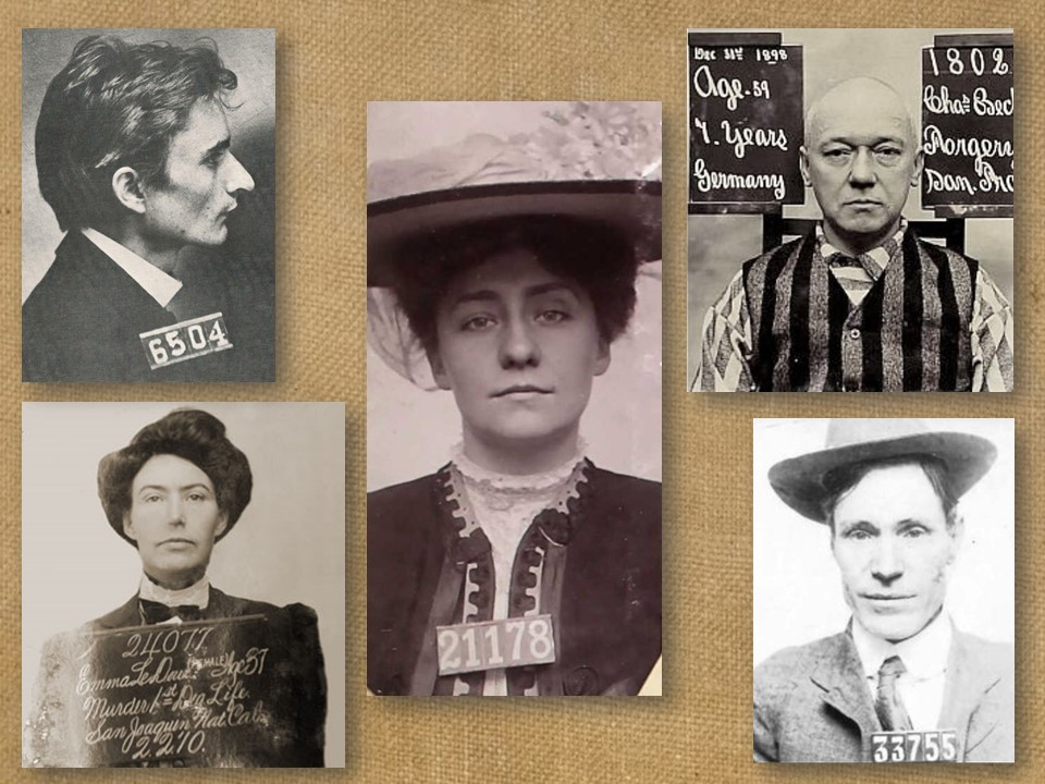 Five mugshots of three men and two women.