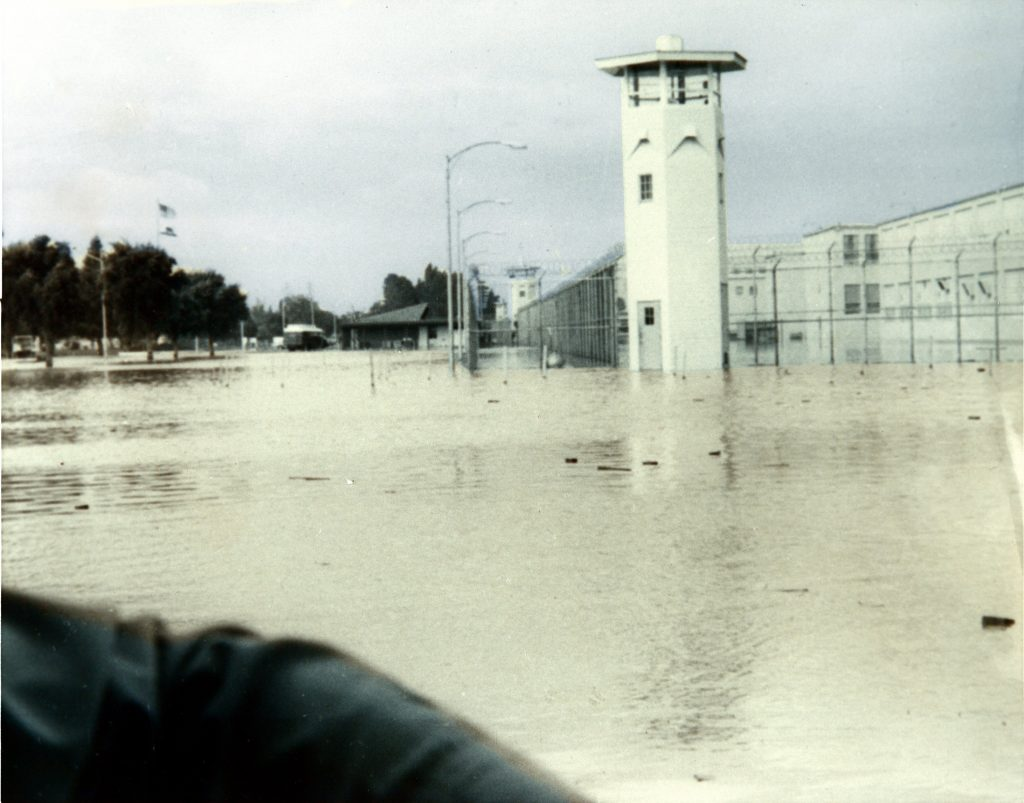 Prison tower and flood waters.