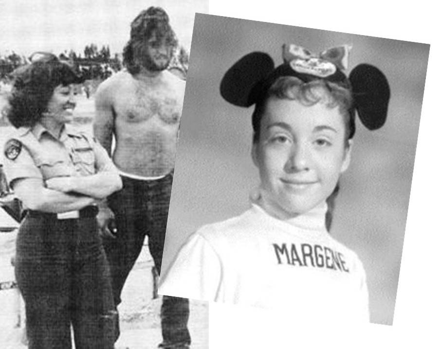 Correctional officer stands beside a shirtless inmate. An inset photo shows the officer wearing Mickey Mouse Club ears with the name Margene emblazoned across her shirt.