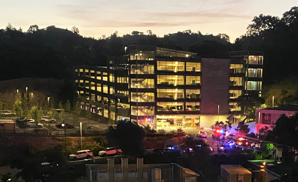 Hospital is surrounded by police vehicles with their lights on as a thank you for their efforts during the pandemic.