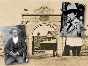 A prison gate in the background with two grainy photos of a prison guard.