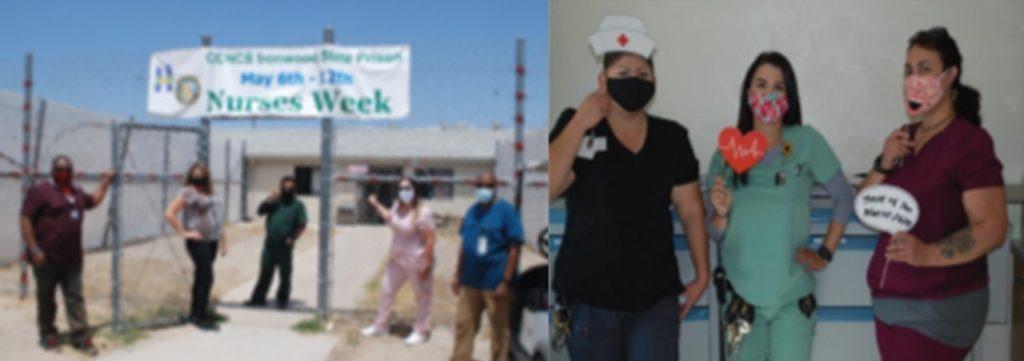 Men and women stand under a banner celebrating Nurses Week. At right, nursing staff wear masks.