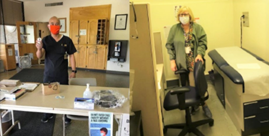Two photos of nursing staff. One nurse stands behind a table while another is in an exam room.