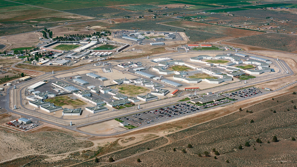 Aerial photo of a prison.