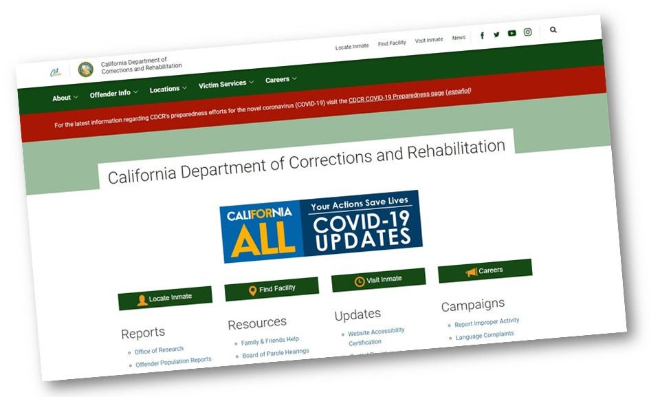 Screenshot of the CDCR homepage.