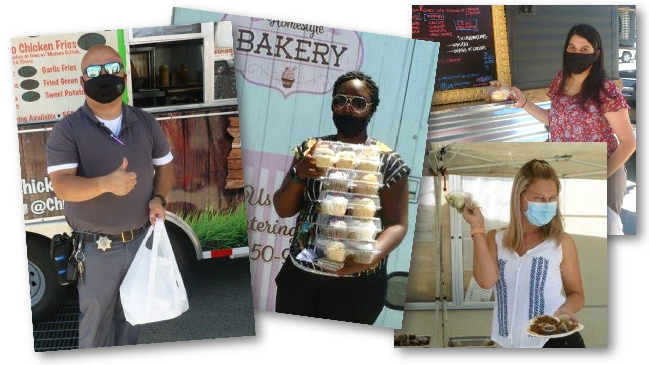 Photo collage of men and women posing in front of food trucks.