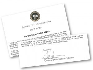 Graphic showing Governor's proclamation declaring Parole Supervision Week.