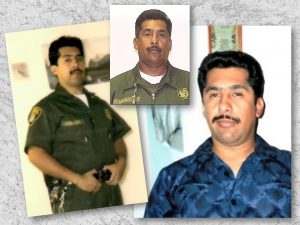 Two photos of man in uniform, one of them when he was younger. A third photo shows him at home wearing a blue shirt.